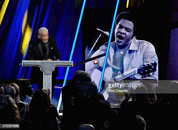 Inductee Bill Withers speaks onstage during the 30th Annual Rock And Roll Hall Of Fame Induction Ceremony at Public Hall on April 18 2015 in...