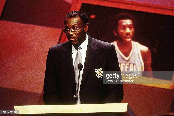 Inductee Bob McAdoo speaks during the 2000 Basketball Hall of Fame Enshrinement Ceremony at the Naismith Basketball Hall of Fame in Springfield...
