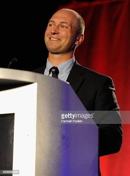 Inductee Brian Rafalski speaks during the US Hockey Hall of Fame Induction Ceremony at Minneapolis Marriott City Center on December 4 2014 in...