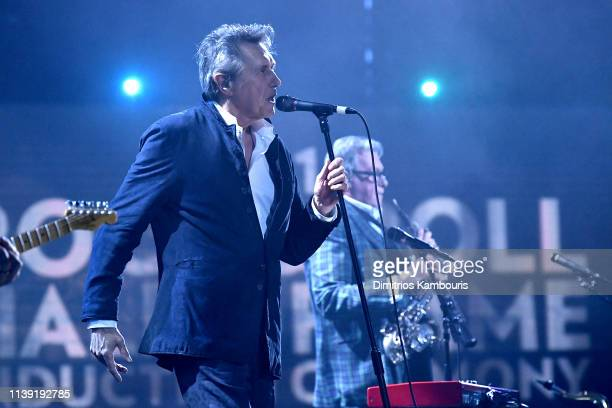 Inductee Bryan Ferry of Roxy Music performs at the 2019 Rock Roll Hall Of Fame Induction Ceremony Show at Barclays Center on March 29 2019 in New...