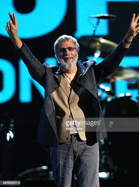 Inductee Cat Stevens performs onstage at the 29th Annual Rock And Roll Hall Of Fame Induction Ceremony at Barclays Center of Brooklyn on April 10...