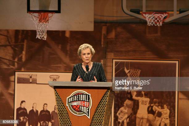 Inductee Cathy Rush speaks during the 2008 Hall of Fame Enshrinement Ceremony on September 5 2008 at the Basketball Hall of Fame in Springfield...