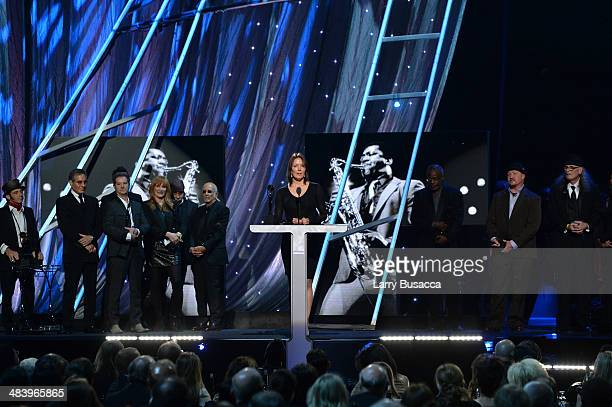 Inductee Clarence Clemons' widow Victoria Clemons speaks onstage at the 29th Annual Rock And Roll Hall Of Fame Induction Ceremony at Barclays Center...