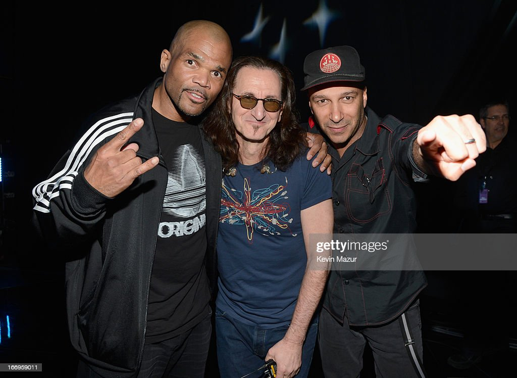 Inductee Darryl McDaniels, inductee Geddy Lee and musician Tom Morello attend the 28th Annual Rock and Roll Hall of Fame Induction Ceremony at Nokia Theatre L.A. Live on April 18, 2013 in Los Angeles, California.