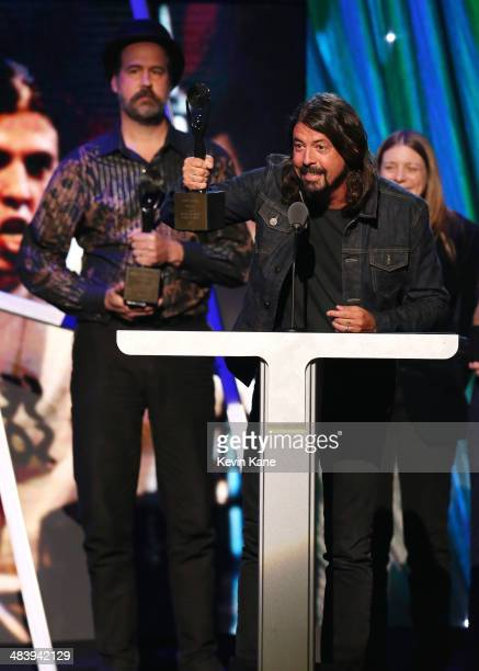 Inductee Dave Grohl speaks onstage at the 29th Annual Rock And Roll Hall Of Fame Induction Ceremony at Barclays Center of Brooklyn on April 10, 2014...