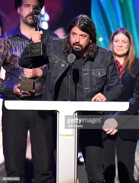 Inductee Dave Grohl speaks onstage at the 29th Annual Rock And Roll Hall Of Fame Induction Ceremony at Barclays Center of Brooklyn on April 10 2014...