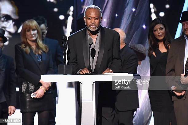 Inductee David Sancious of the E Street Band speaks onstage at the 29th Annual Rock And Roll Hall Of Fame Induction Ceremony at Barclays Center of...