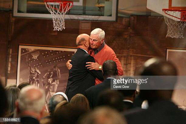 Inductee Dick Vitale and Texas Tech Head Coach Bob Knight hug during the 2008 Hall of Fame Enshrinement Ceremony on September 5 2008 at the...