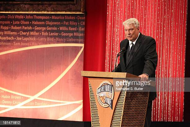 Inductee Don Nelson speaks to the audience during the 2012 Basketball Hall of Fame Enshrinement Ceremony on September 7 2012 at Symphony Hall in...
