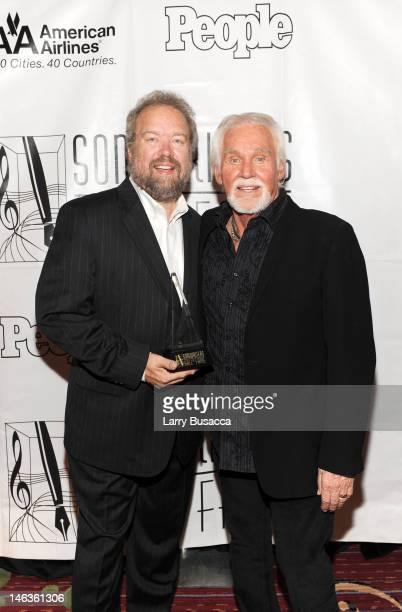 Inductee Don Schlitz and Kenny Rogers attend the Songwriters Hall of Fame 43rd Annual induction and awards at The New York Marriott Marquis on June...