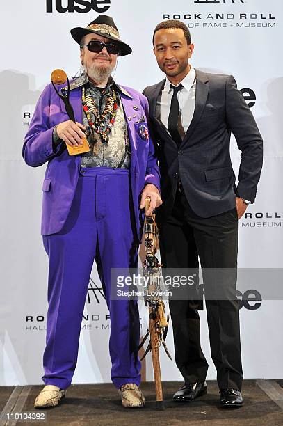 Inductee Dr John and musician John Legend pose in the press room at the 26th annual Rock and Roll Hall of Fame Induction Ceremony at The...