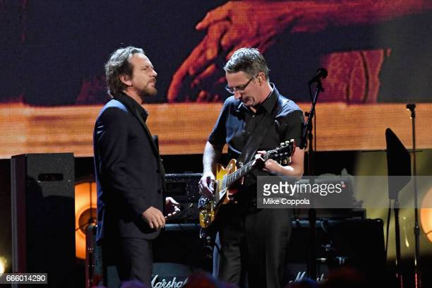 Inductee Eddie Vedder and Stone Gossard of Pearl Jam performs onstage at the 32nd Annual Rock Roll Hall Of Fame Induction Ceremony at Barclays Center...