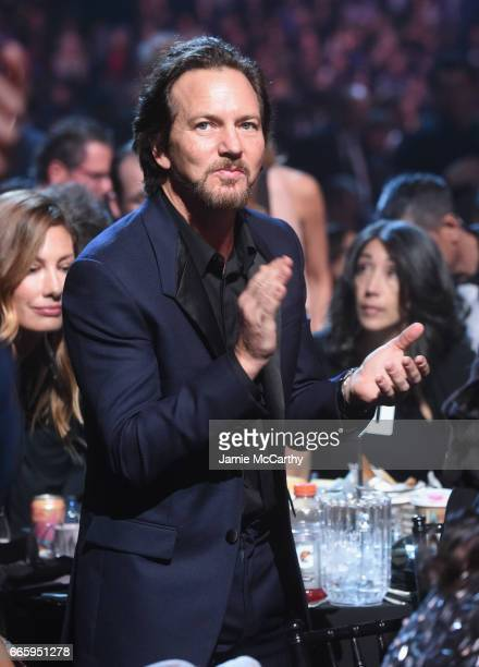 Inductee Eddie Vedder of Pearl Jam attends the 32nd Annual Rock Roll Hall Of Fame Induction Ceremony at Barclays Center on April 7 2017 in New York...