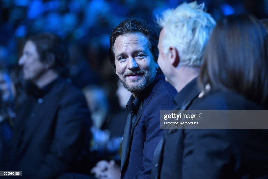 Inductee Eddie Vedder of Pearl Jam onstage at the 32nd Annual Rock & Roll Hall Of Fame Induction Ceremony at Barclays Center on April 7, 2017 in New York City. The event will broadcast on HBO Saturday, April 29, 2017 at 8:00 pm ET/PT