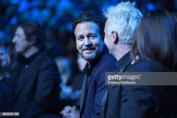 Inductee Eddie Vedder of Pearl Jam onstage at the 32nd Annual Rock Roll Hall Of Fame Induction Ceremony at Barclays Center on April 7 2017 in New...
