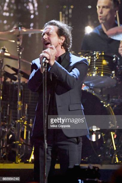 Inductee Eddie Vedder of Pearl Jam performs onstage at the 32nd Annual Rock Roll Hall Of Fame Induction Ceremony at Barclays Center on April 7 2017...