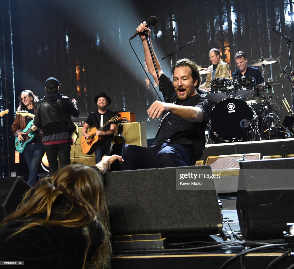 Inductee Eddie Vedder of Pearl Jam performs onstage during the 32nd Annual Rock & Roll Hall Of Fame Induction Ceremony at Barclays Center on April 7, 2017 in New York City. The broadcast will air on Saturday, April 29, 2017 at 8:00 PM ET/PT on HBO.