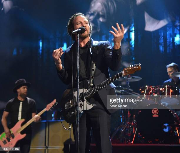 Inductee Eddie Vedder of Pearl Jam performs onstage during the 32nd Annual Rock Roll Hall Of Fame Induction Ceremony at Barclays Center on April 7...