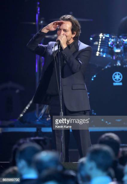 Inductee Eddie Vedder of Pearl Jam speaks onstage at the 32nd Annual Rock Roll Hall Of Fame Induction Ceremony at Barclays Center on April 7 2017 in...