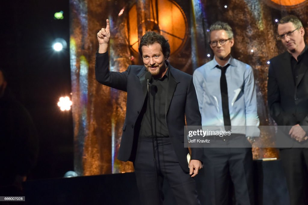 Inductee Eddie Vedder of Pearl Jam speaks onstage at the 32nd Annual Rock & Roll Hall Of Fame Induction Ceremony at Barclays Center on April 7, 2017 in New York City. The event will broadcast on HBO Saturday, April 29, 2017 at 8:00 pm ET/PT