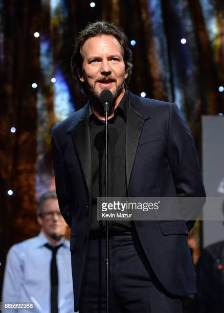 Inductee Eddie Vedder of Pearl Jam speaks onstage during the 32nd Annual Rock Roll Hall Of Fame Induction Ceremony at Barclays Center on April 7 2017...