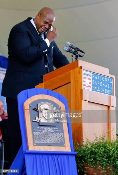 Inductee Frank Thomas fights back tears during his speech at Clark Sports Center during the Baseball Hall of Fame induction ceremony on July 27 2014...