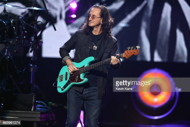 Inductee Geddy Lee of RUSH performs with Yes onstage at the 32nd Annual Rock Roll Hall Of Fame Induction Ceremony at Barclays Center on April 7 2017...