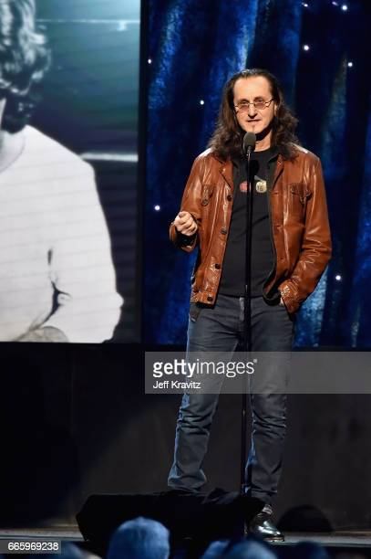Inductee Geddy Lee of RUSH speaks onstage at the 32nd Annual Rock Roll Hall Of Fame Induction Ceremony at Barclays Center on April 7 2017 in New York...