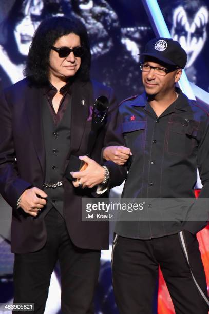 Inductee Gene Simmons of KISS and musician Tom Morello speak onstage at the 29th Annual Rock And Roll Hall Of Fame Induction Ceremony at Barclays...