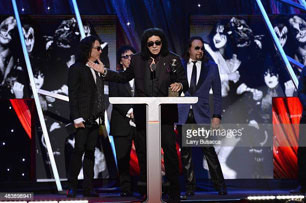 Inductee Gene Simmons of KISS speaks onstage at the 29th Annual Rock And Roll Hall Of Fame Induction Ceremony at Barclays Center of Brooklyn on April...