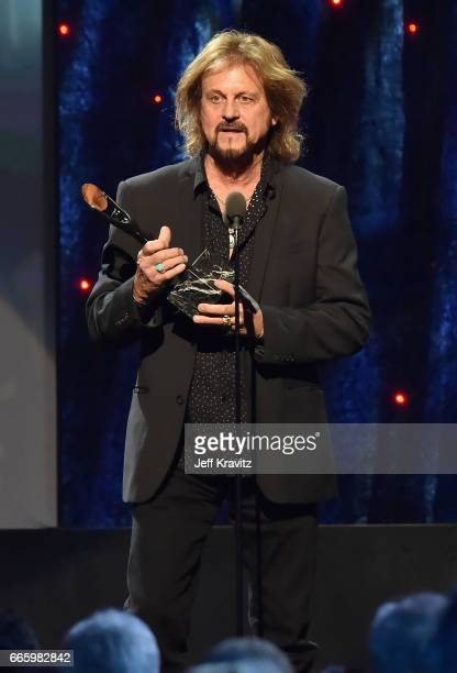 Inductee Gregg Rolie of Journey speaks onstage at the 32nd Annual Rock Roll Hall Of Fame Induction Ceremony at Barclays Center on April 7 2017 in New...