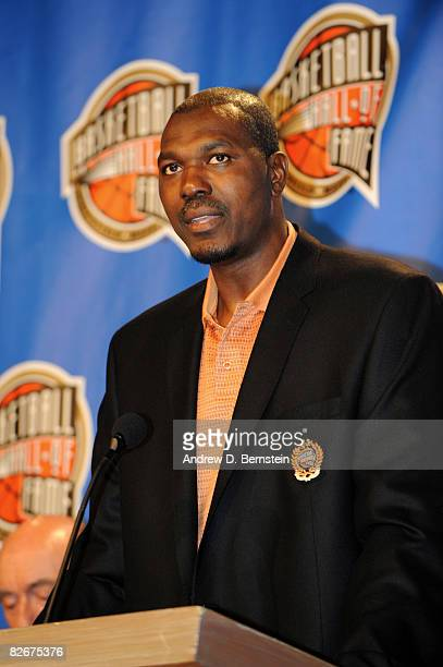 Inductee Hakeem Olajuwon speaks to the media during the Class of 2008 Press Event on September 5 2008 at the Basketball Hall of Fame in Springfield...