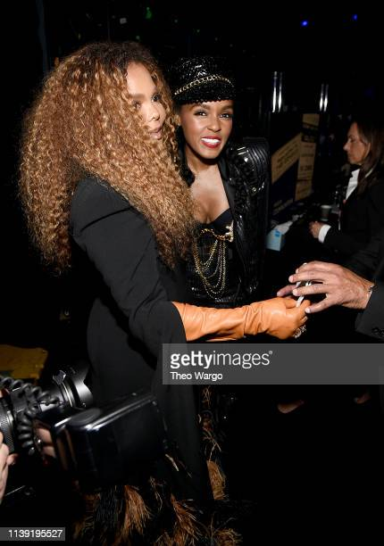 Inductee Janet Jackson and Janelle Monáe attend the 2019 Rock Roll Hall Of Fame Induction Ceremony Show at Barclays Center on March 29 2019 in New...