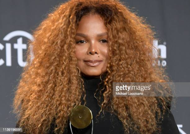 Inductee Janet Jackson poses in the press room at the 2019 Rock Roll Hall Of Fame Induction Ceremony Press Room at Barclays Center on March 29 2019...