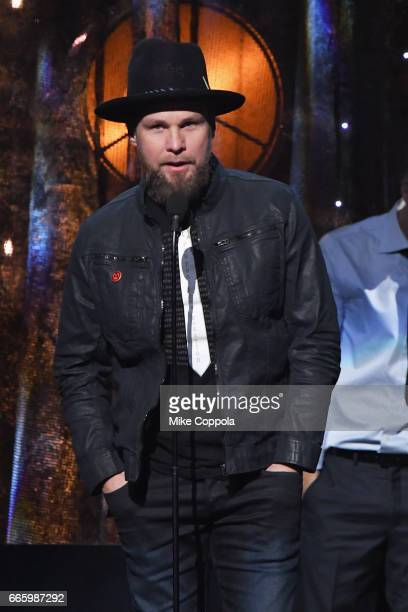 Inductee Jeff Ament of Pearl Jam speaks onstage at the 32nd Annual Rock Roll Hall Of Fame Induction Ceremony at Barclays Center on April 7 2017 in...