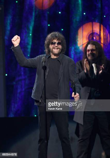 Inductee Jeff Lynne of ELO speaks onstage at the 32nd Annual Rock & Roll Hall Of Fame Induction Ceremony at Barclays Center on April 7, 2017 in New...