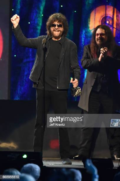 Inductee Jeff Lynne of ELO speaks onstage at the 32nd Annual Rock Roll Hall Of Fame Induction Ceremony at Barclays Center on April 7 2017 in New York...