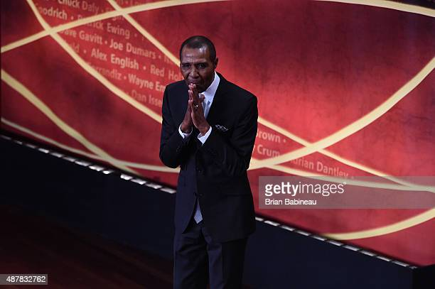 Inductee Jo Jo White greets the crowd during the 2015 Basketball Hall of Fame Enshrinement Ceremony on September 11 2015 at the Naismith Basketball...