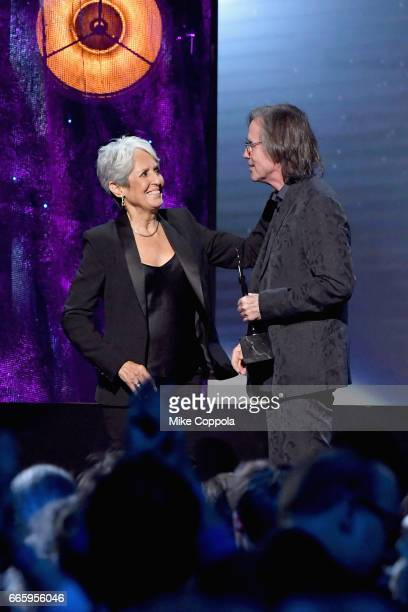Inductee Joan Baez and Presenter Jackson Browne onstage at the 32nd Annual Rock Roll Hall Of Fame Induction Ceremony at Barclays Center on April 7...