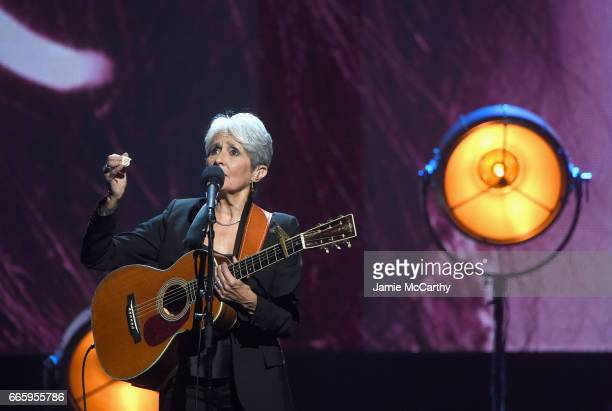 Inductee Joan Baez performs onstage at the 32nd Annual Rock Roll Hall Of Fame Induction Ceremony at Barclays Center on April 7 2017 in New York City...