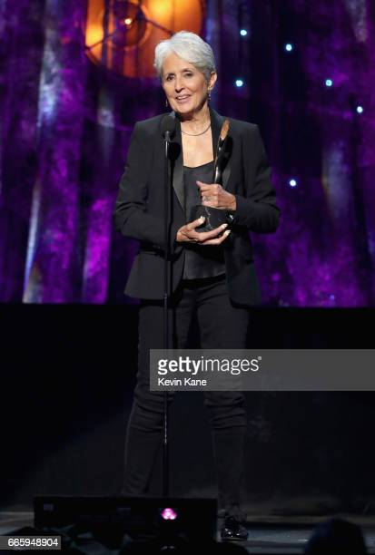 Inductee Joan Baez speaks onstage at the 32nd Annual Rock Roll Hall Of Fame Induction Ceremony at Barclays Center on April 7 2017 in New York City...