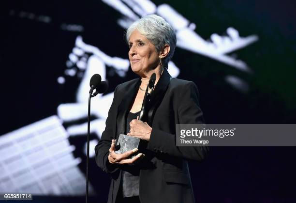 Inductee Joan Baez speaks onstage at the 32nd Annual Rock & Roll Hall Of Fame Induction Ceremony at Barclays Center on April 7, 2017 in New York...