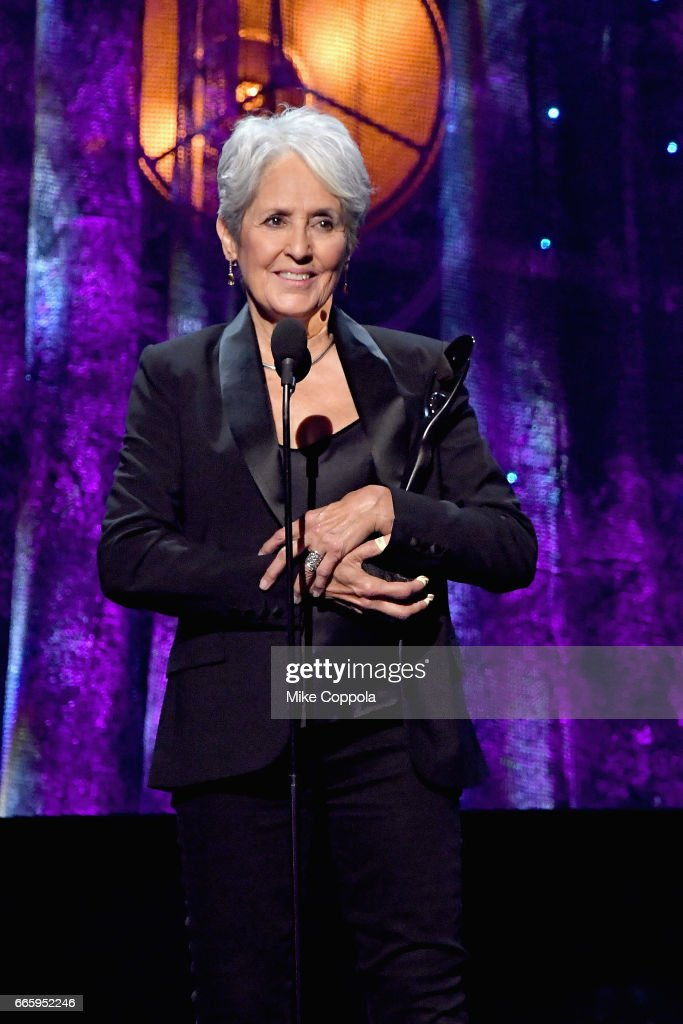 Inductee Joan Baez speaks onstage at the 32nd Annual Rock & Roll Hall Of Fame Induction Ceremony at Barclays Center on April 7, 2017 in New York City. The event will broadcast on HBO Saturday, April 29, 2017 at 8:00 pm ET/PT