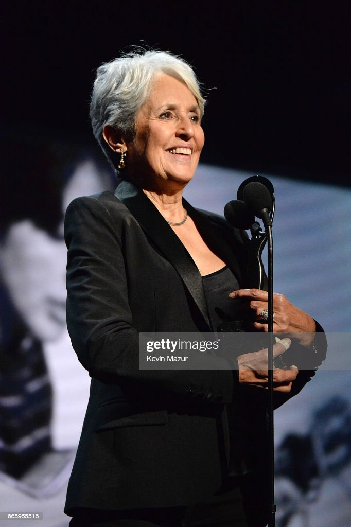 Inductee Joan Baez speaks onstage during the 32nd Annual Rock & Roll Hall Of Fame Induction Ceremony at Barclays Center on April 7, 2017 in New York City. The broadcast will air on Saturday, April 29, 2017 at 8:00 PM ET/PT on HBO.