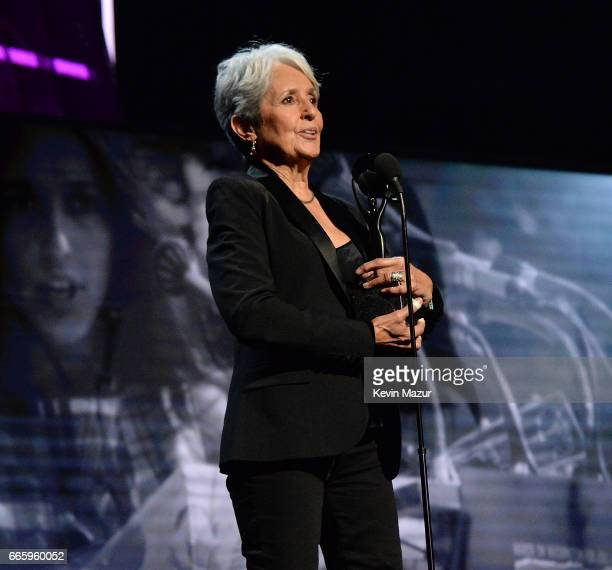 Inductee Joan Baez speaks onstage during the 32nd Annual Rock Roll Hall Of Fame Induction Ceremony at Barclays Center on April 7 2017 in New York...