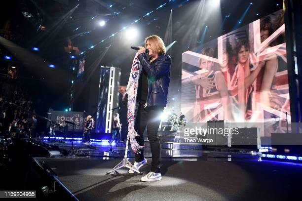 Inductee Joe Elliott of Def Leppard performs at the 2019 Rock & Roll Hall Of Fame Induction Ceremony - Show at Barclays Center on March 29, 2019 in...