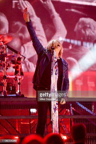Inductee Joe Elliott of Def Leppard performs onstage during the 2019 Rock Roll Hall Of Fame Induction Ceremony Press Room at Barclays Center on March...