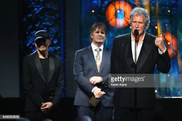 Inductee John Illsley of Dire Straits attend the 33rd Annual Rock Roll Hall of Fame Induction Ceremony at Public Auditorium on April 14 2018 in...