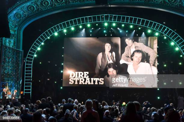 Inductee John Illsley of Dire Straits speaks onstage during the 33rd Annual Rock Roll Hall of Fame Induction Ceremony at Public Auditorium on April...