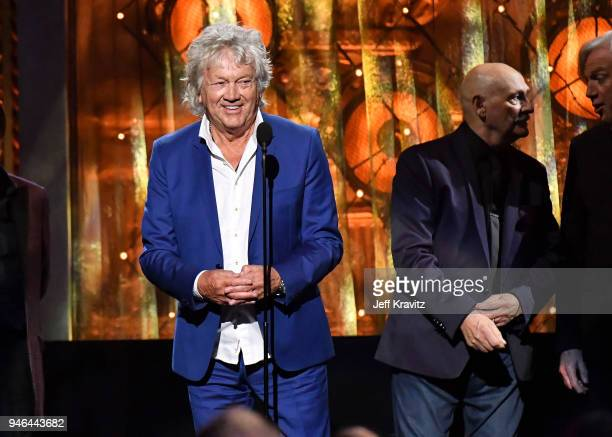 Inductee John Lodge of the Moody Blues speaks onstage at the 33rd Annual Rock Roll Hall of Fame Induction Ceremony at Public Auditorium on April 14...